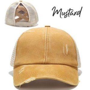 Criss Cross Distressed Trucker Hat - Mustard